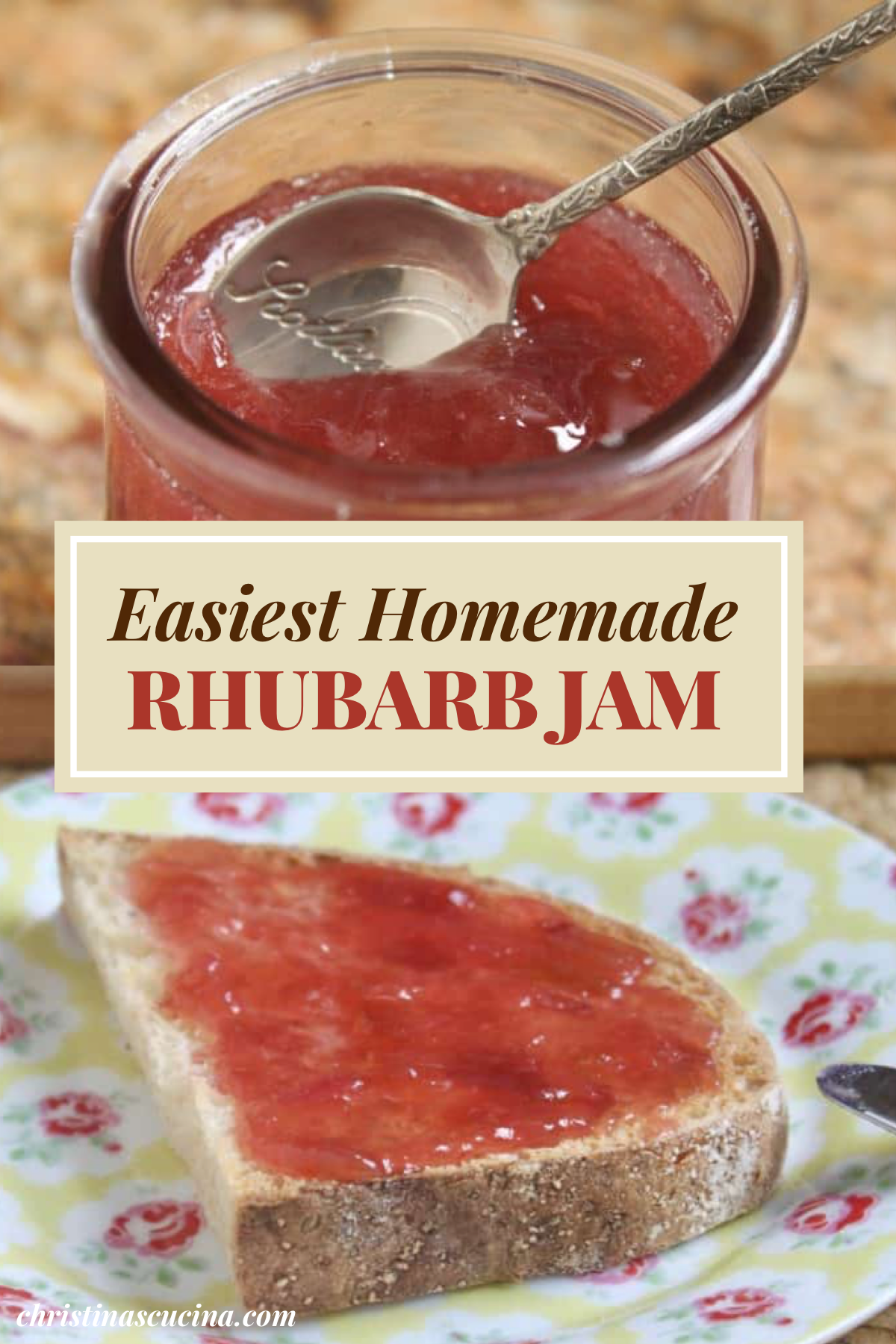 pinterest pin of rhubarb jam spread on piece of sliced bread on plate