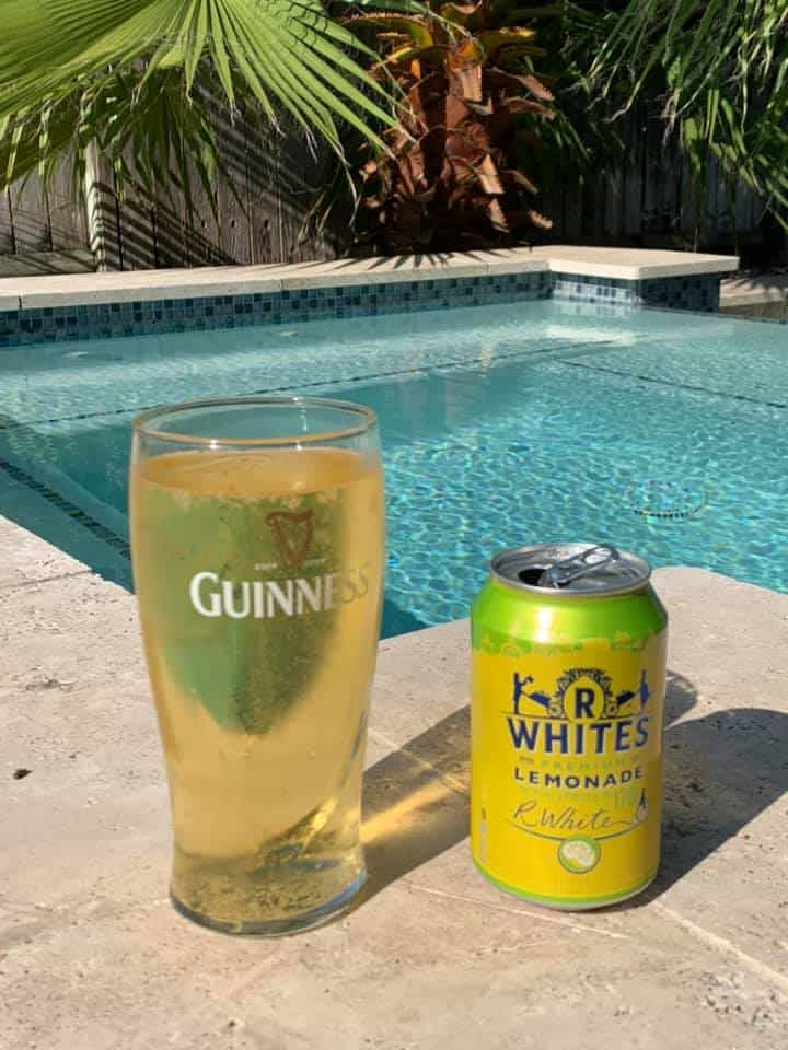 shandy made with R. Whites Lemonade (sparkling soda) by Kate Brocklebank