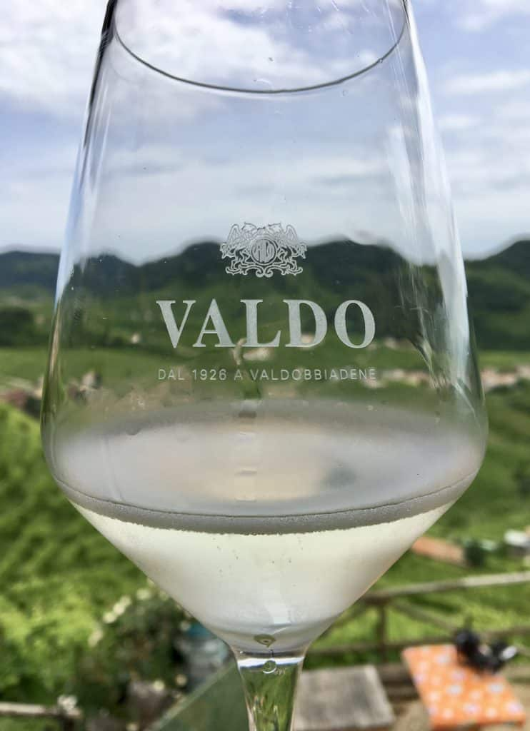 A glass of Valdo prosecco in Valdobbiadene