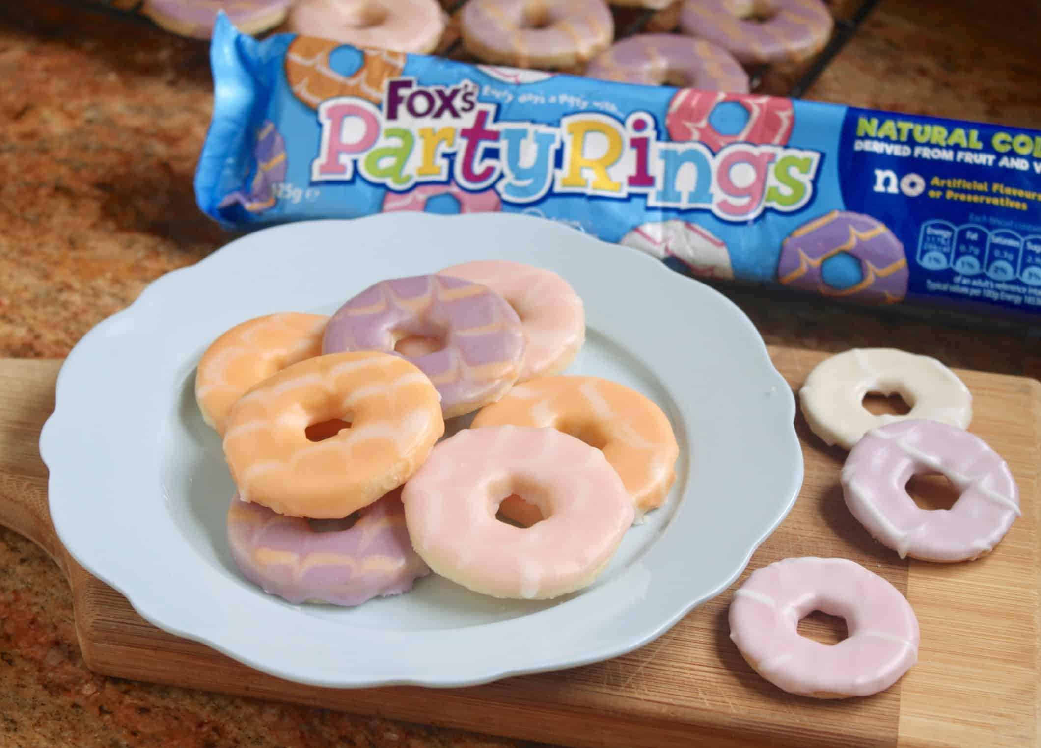 Homemade party rings on a plate