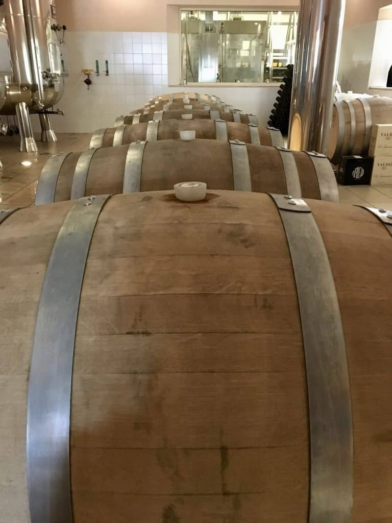 Barrels in the Valdo winery