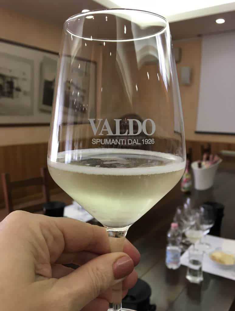 A day trip to Valdobbiadene. Valdo wine glass