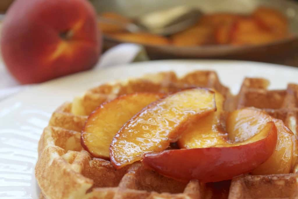 Christina's Buttery Maple Peach Sauce Topping on overnight waffles