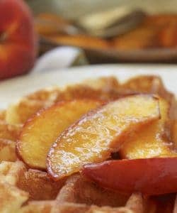 Buttery Maple Peach Topping (Sauce) for Waffles, Pancakes, Ice Cream and More