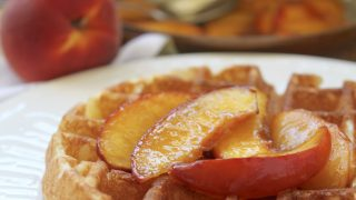 Overnight Waffles with Buttery Maple Nectarine (or Peach) Topping