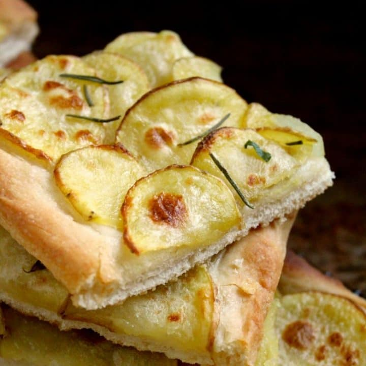 Authentic Italian Potato Pizza (Pizza con Patate) with Yellow Idaho® Potatoes