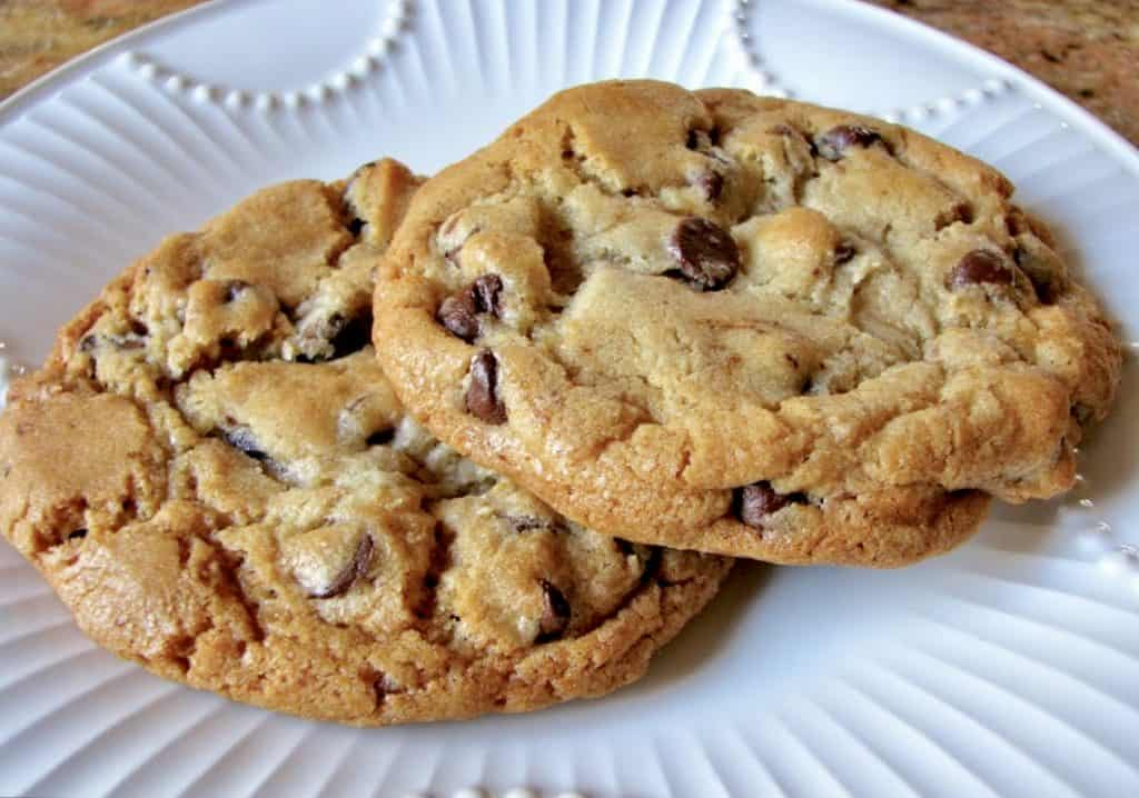 Chocolate chip cookies on plate