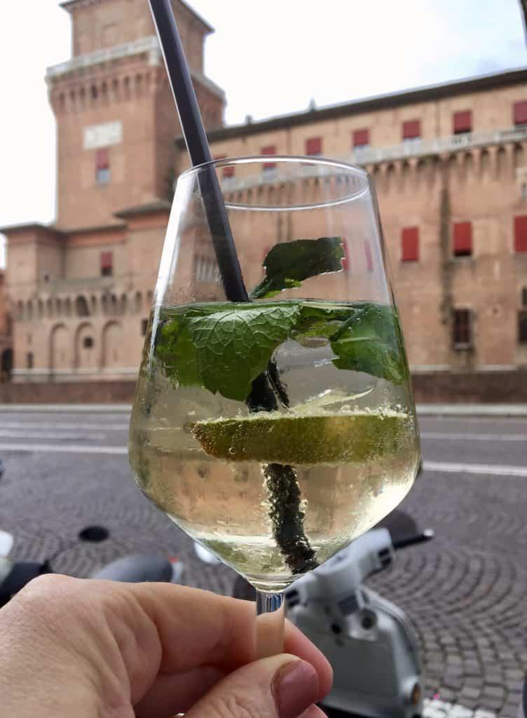 Hugo cocktail visiting Ferrara, Castello Estense