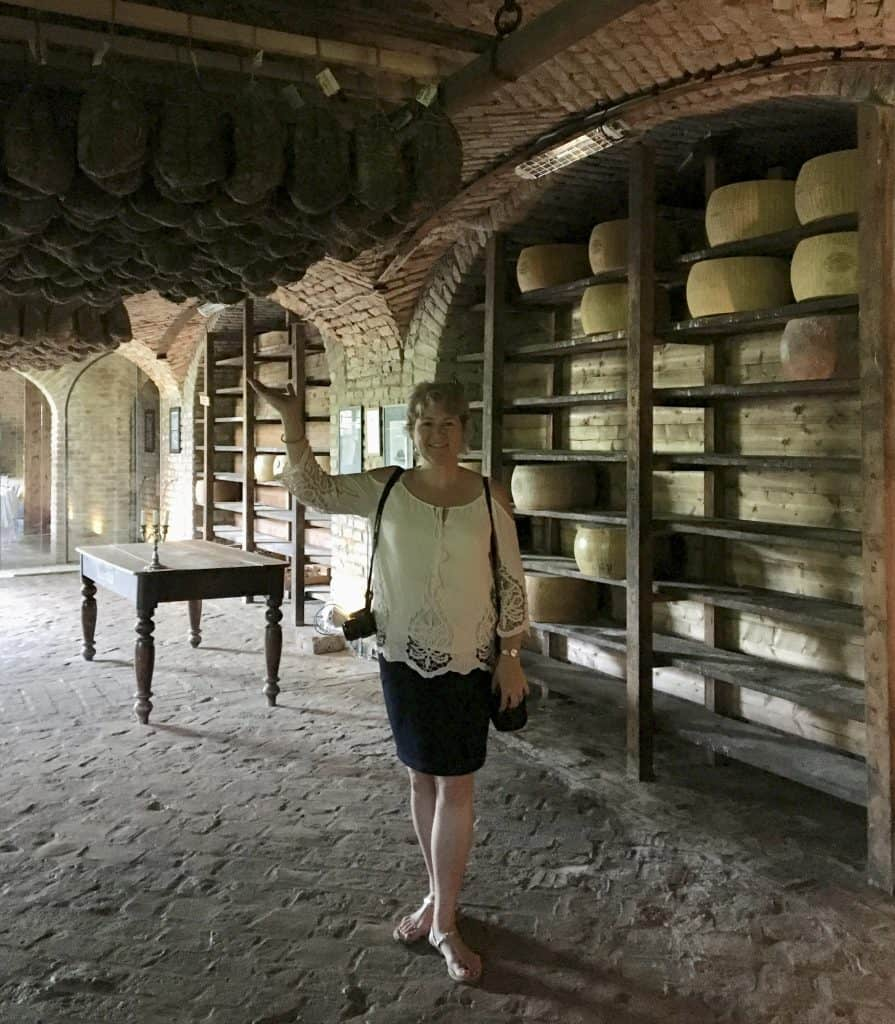 Christina and culatello at Antica Corte Pallavicina