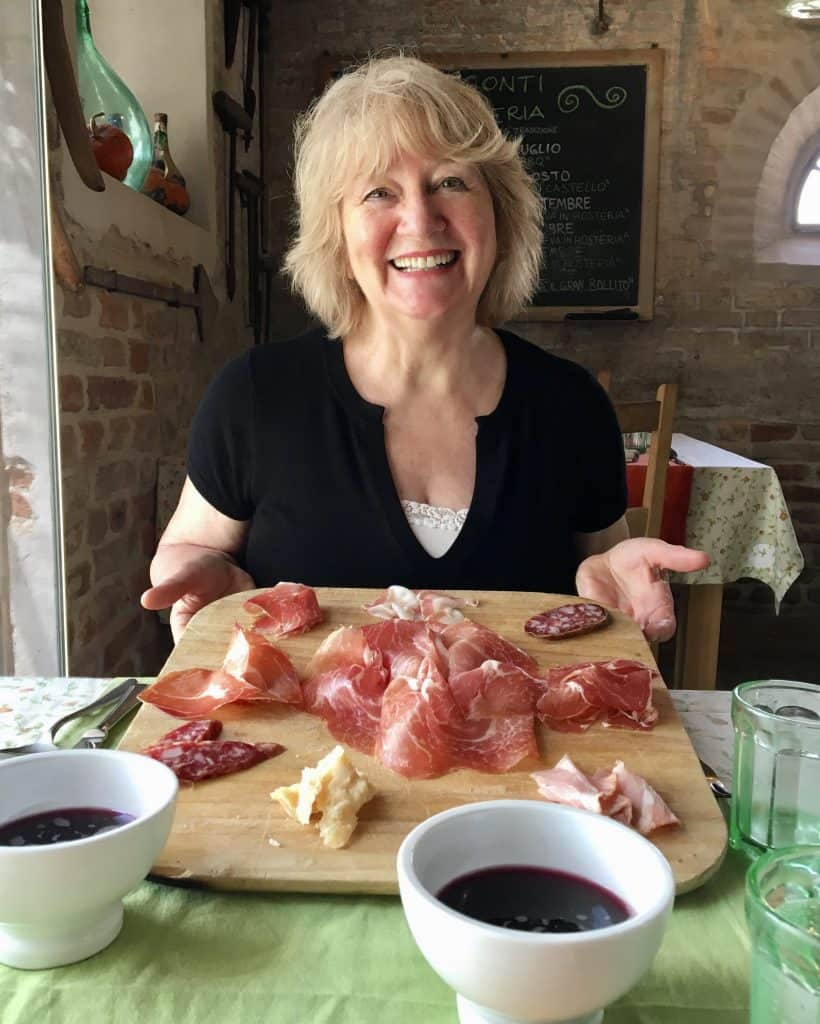 My elated mother with her culatello board!
