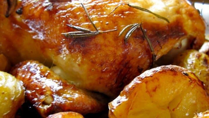 Rosemary Citrus Roast Chicken (overnight marinade) with Roasted Potatoes