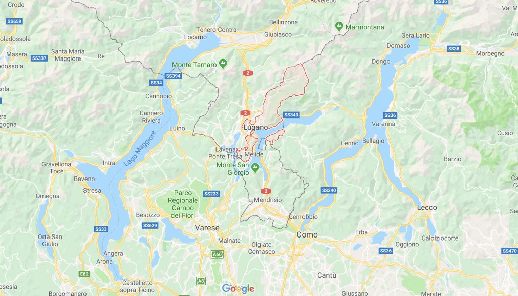 Map of Lugano area google