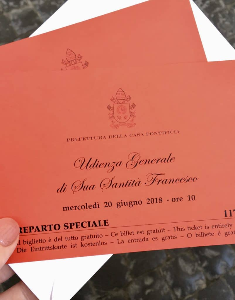 Papal audience tickets