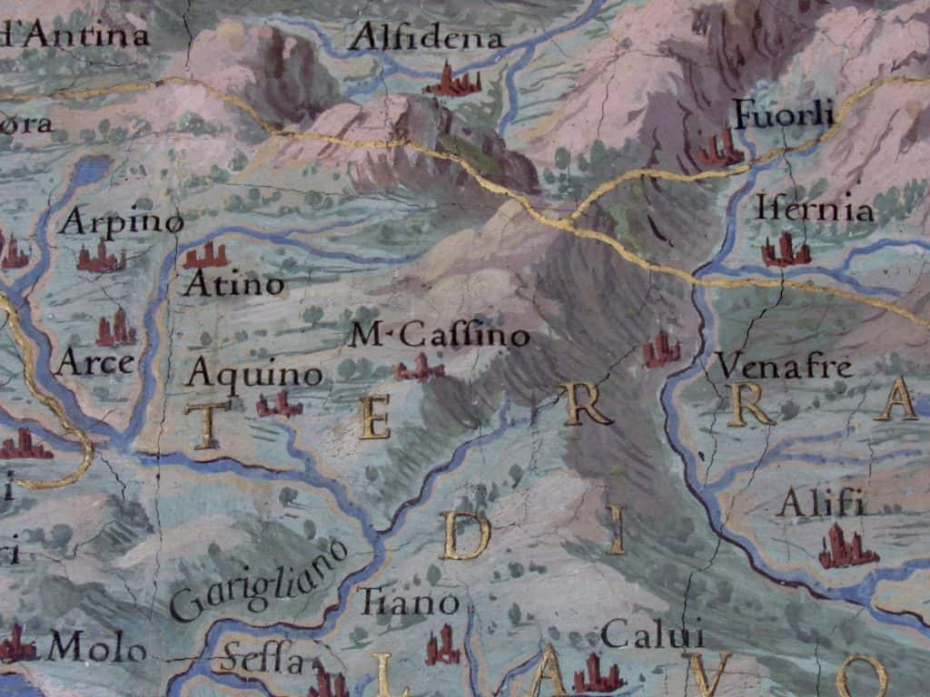 Monte Cassino on a Vatican map