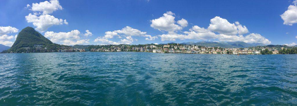 Lake Lugano panorama from the water