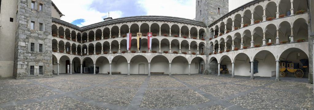 Stockalper Palace Courtyard in Brig, Switzerland