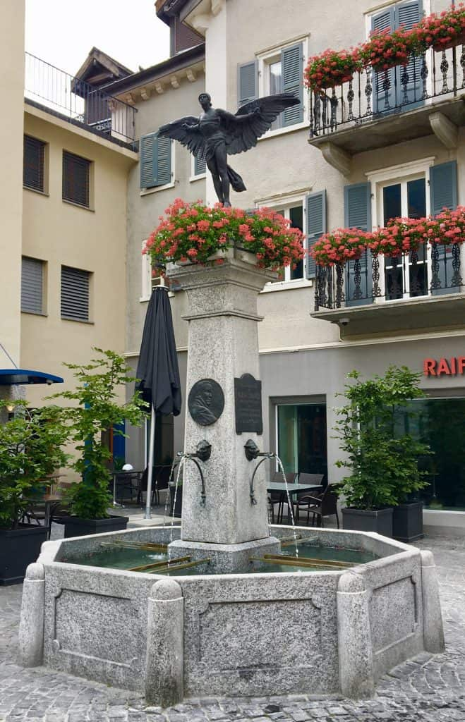 Peruvian aviator Geo Chavez memorial fountain in Brig, Switzerland