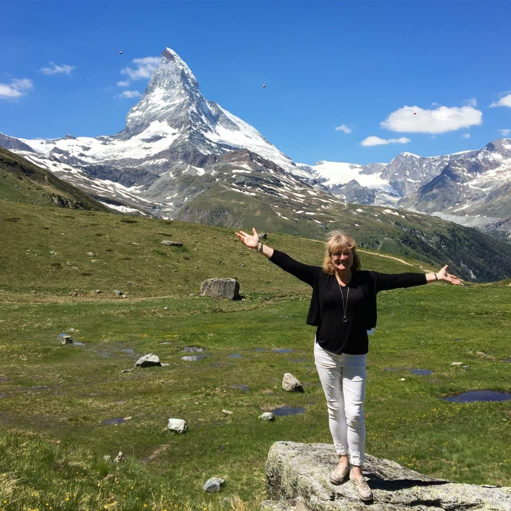 Christina from Christina's Cucina in front of the Matterhorn