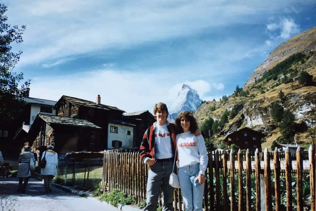 Christina from Christina's Cucina in front of the Matterhorn with husband