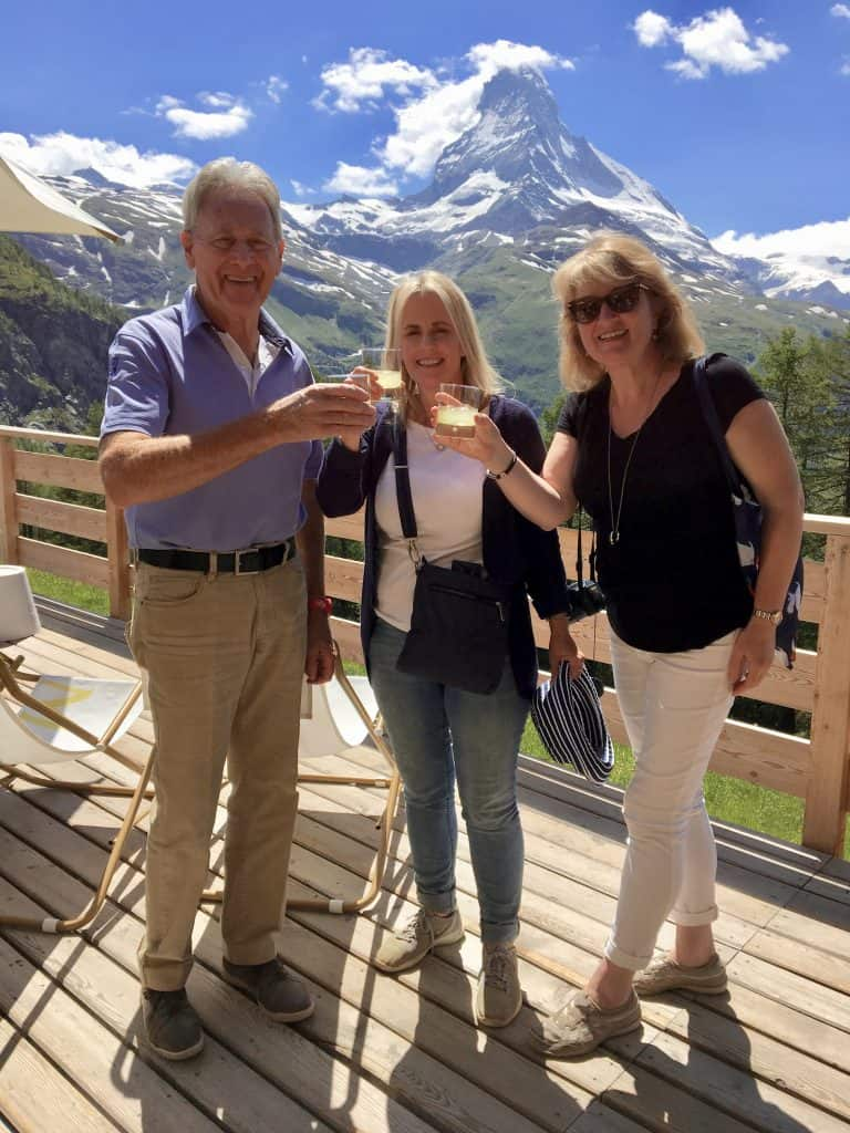 Limoncello shots in front of the Matterhorn