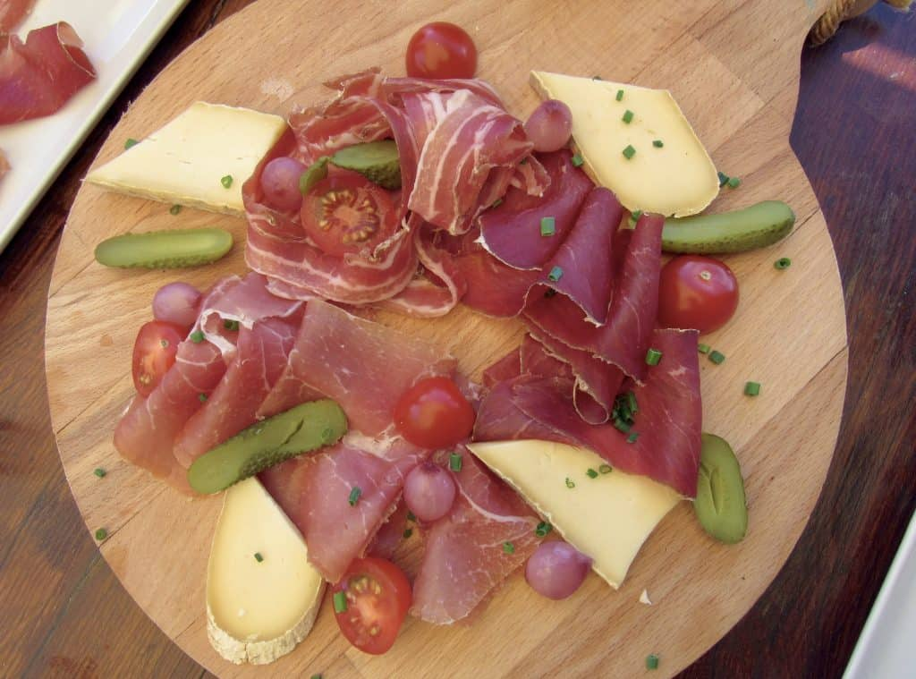 Cured Swiss meat and cheese platter