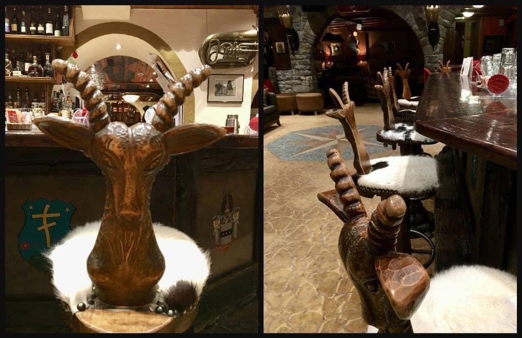 Goat bar stools at Hotel Alex Zermatt