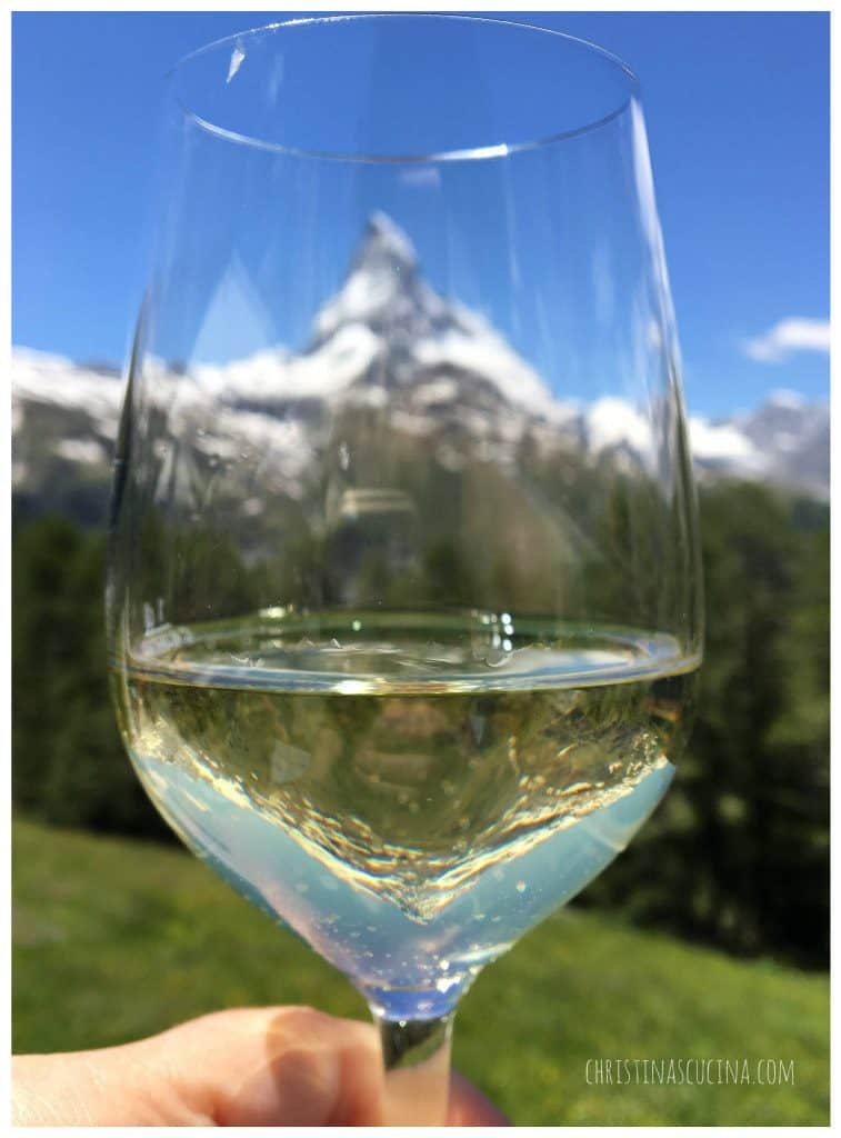 Wine glass in front of the Matterhorn