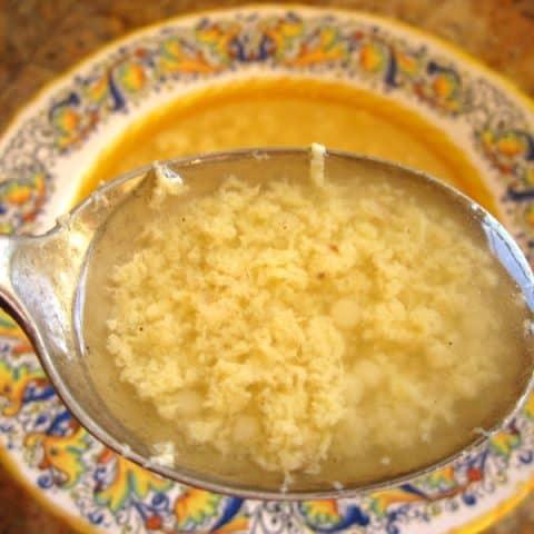 Homemade Italian Syle Chicken Soup with Stracciatella