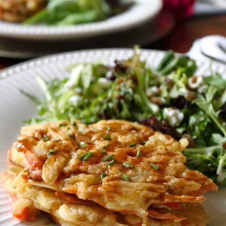Potato Goat Cheese Cakes with European Salad and Balsamic Vinaigrette