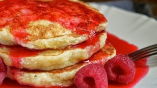 Lemon Souffle Pancakes with Raspberry Syrup