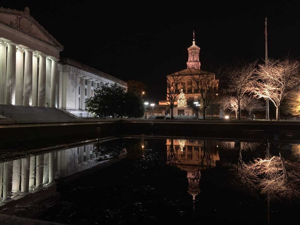 Nashville state capitol at night