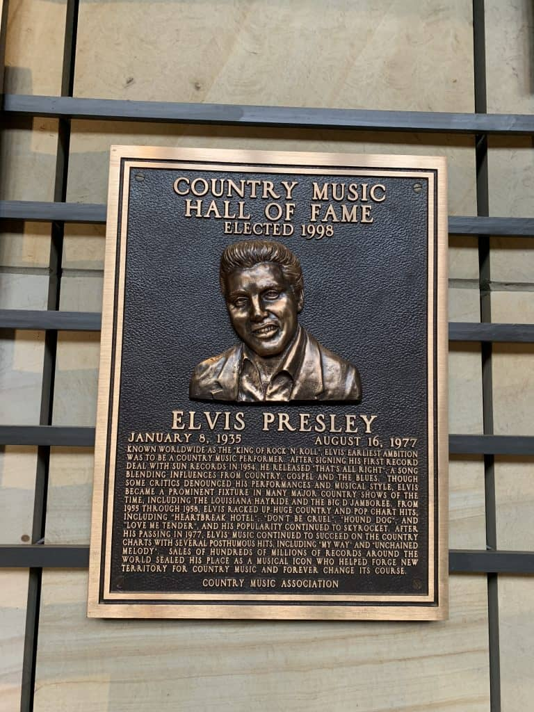 Elvis plaque at Country Music Hall of Fame, Nashville