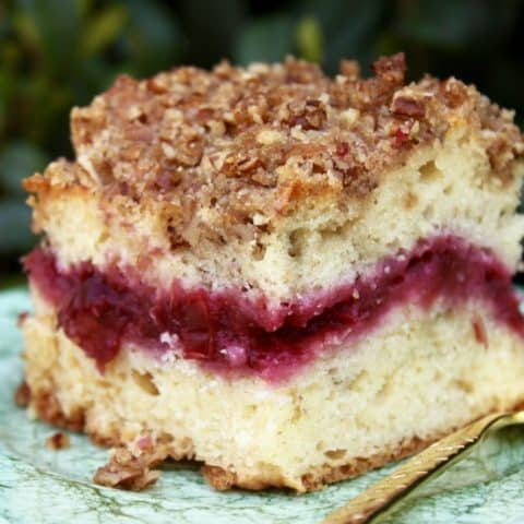 Cherry Cream Cheese Coffeecake with Streusel Crunch Topping