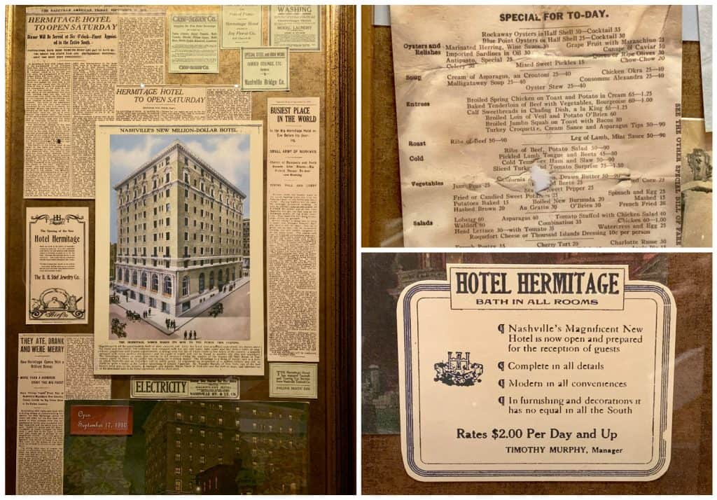 Old newspaper clippings about the Hermitage Hotel