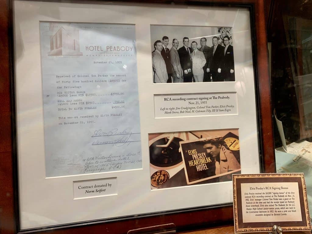 Contract signed by Elvis in the Peabody Hotel