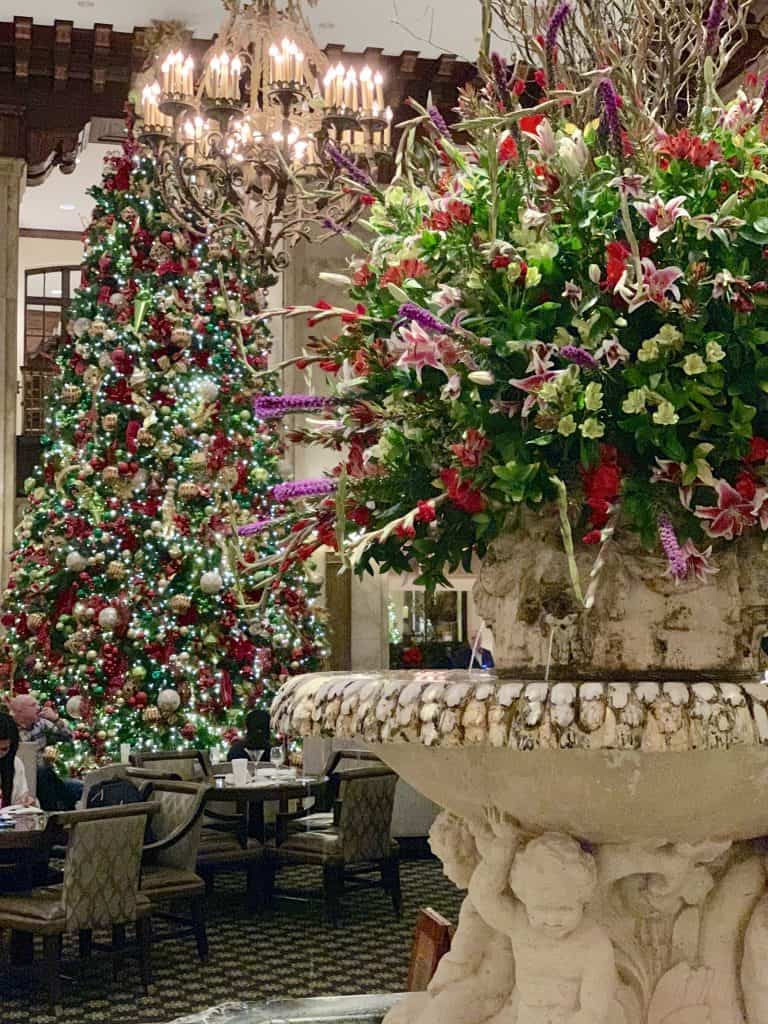 Lobby fountain at the Peabody Hotel at Christmastime