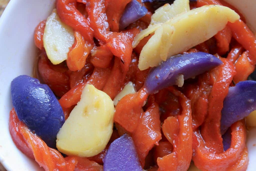 Potato and roasted red pepper salad