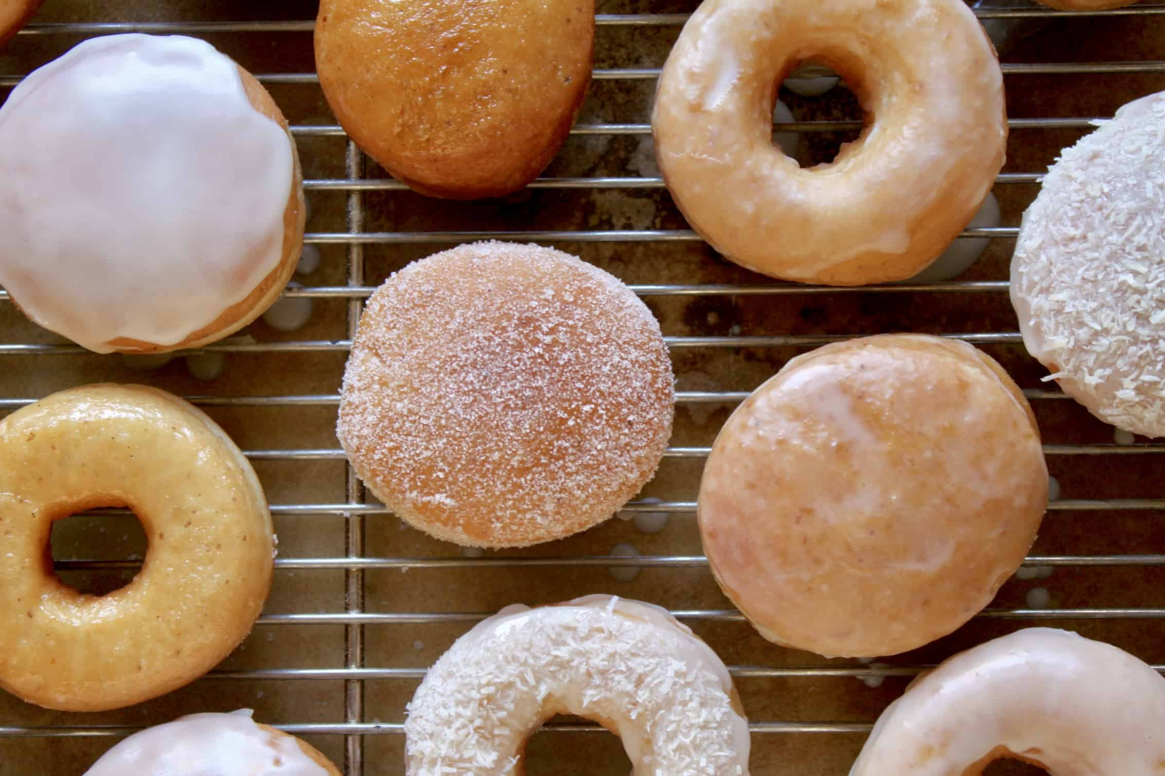 overhead view of doughnuts on a rack