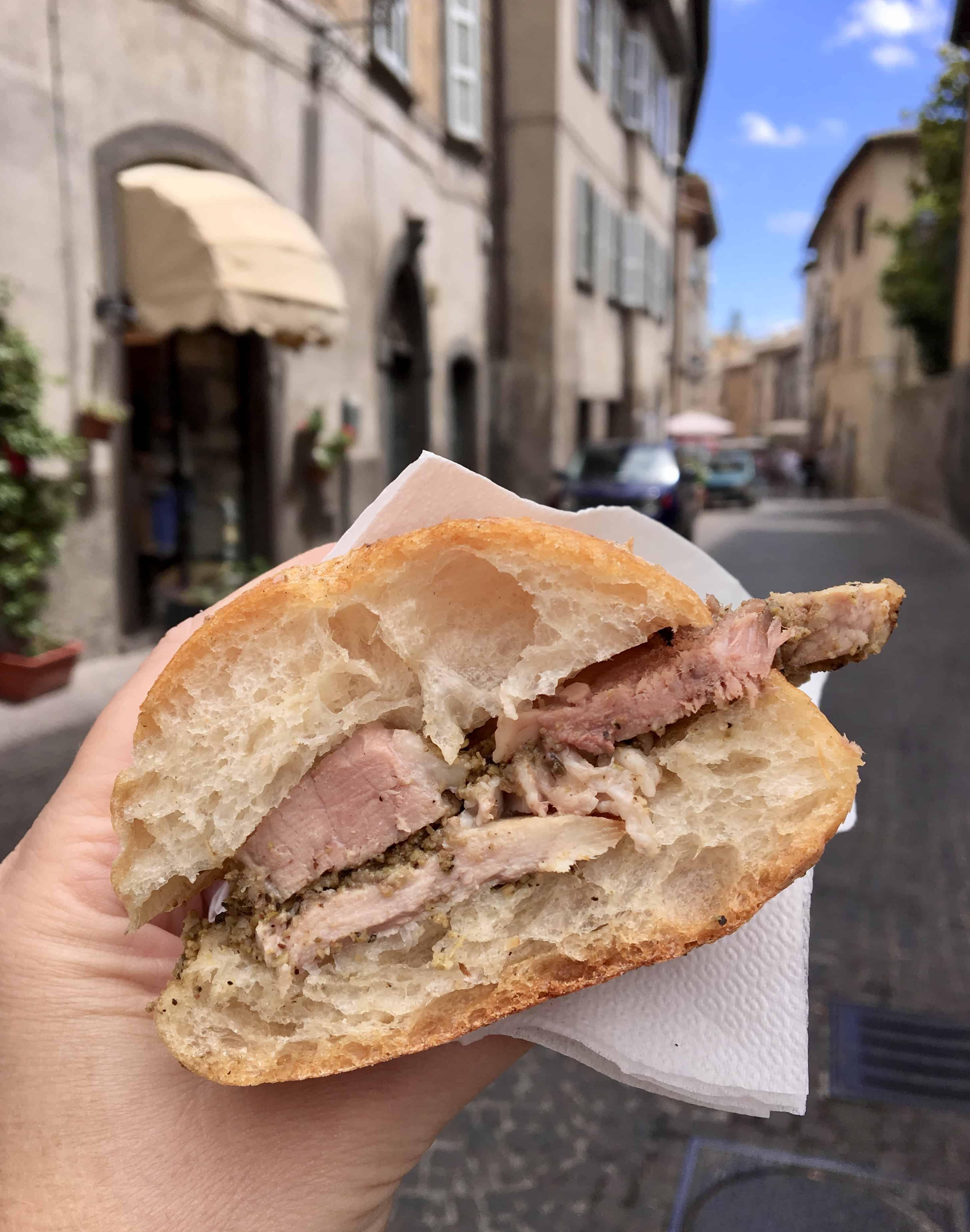 Porchetta panino in Orvieto
