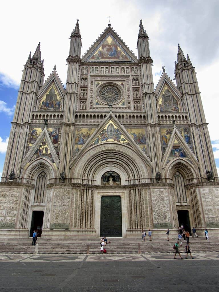 front of the duomo in Orvieto, Italy