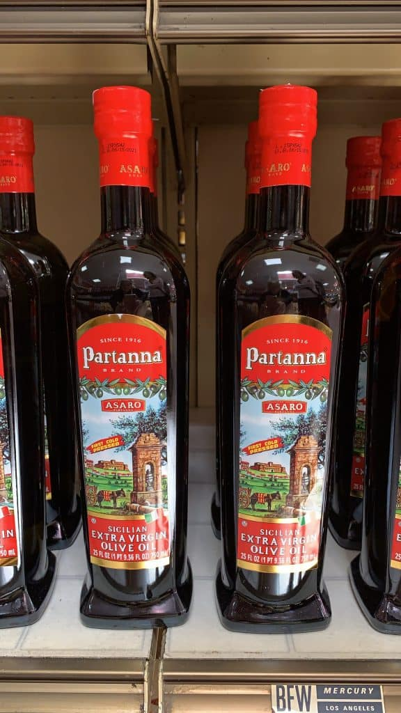 Partanna olive oil in Giuliano's Torrance