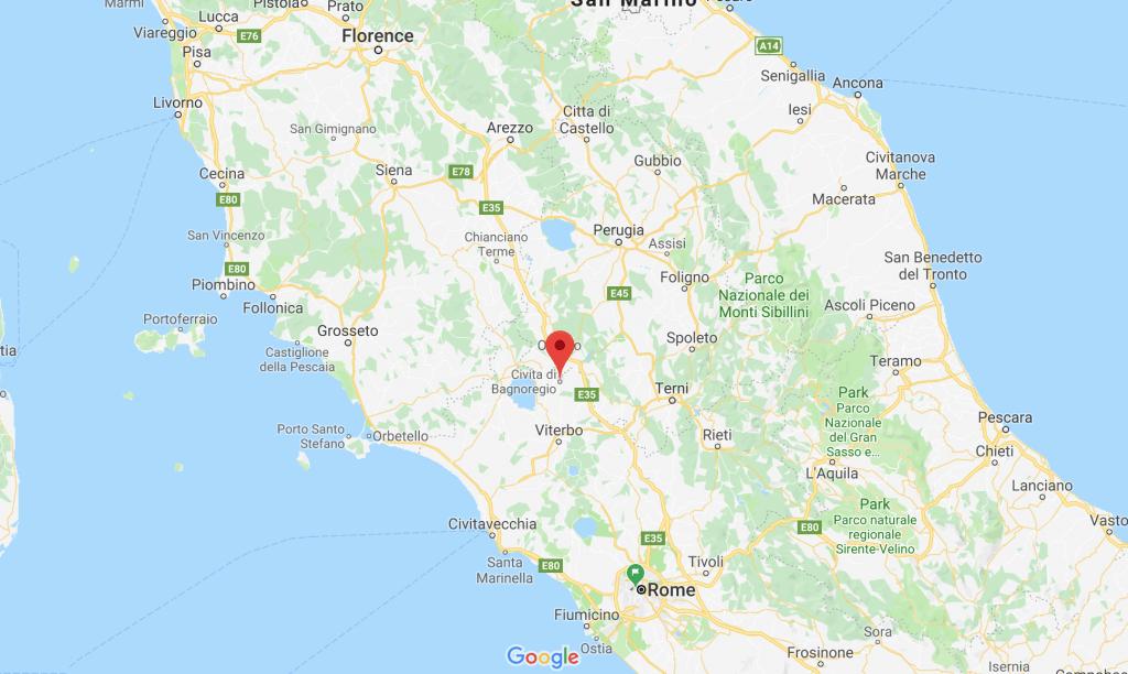 Map of Civita di Bagnoregio courtesy of Google