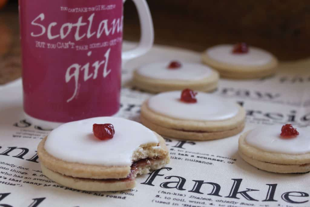 Empire biscuit with mug of tea