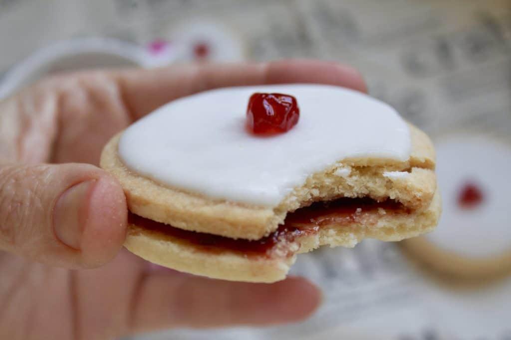Empire biscuit, partially eaten