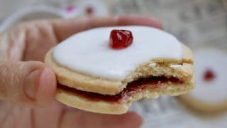 Empire Biscuits (Classic Scottish Iced Cookies with Raspberry Jam)