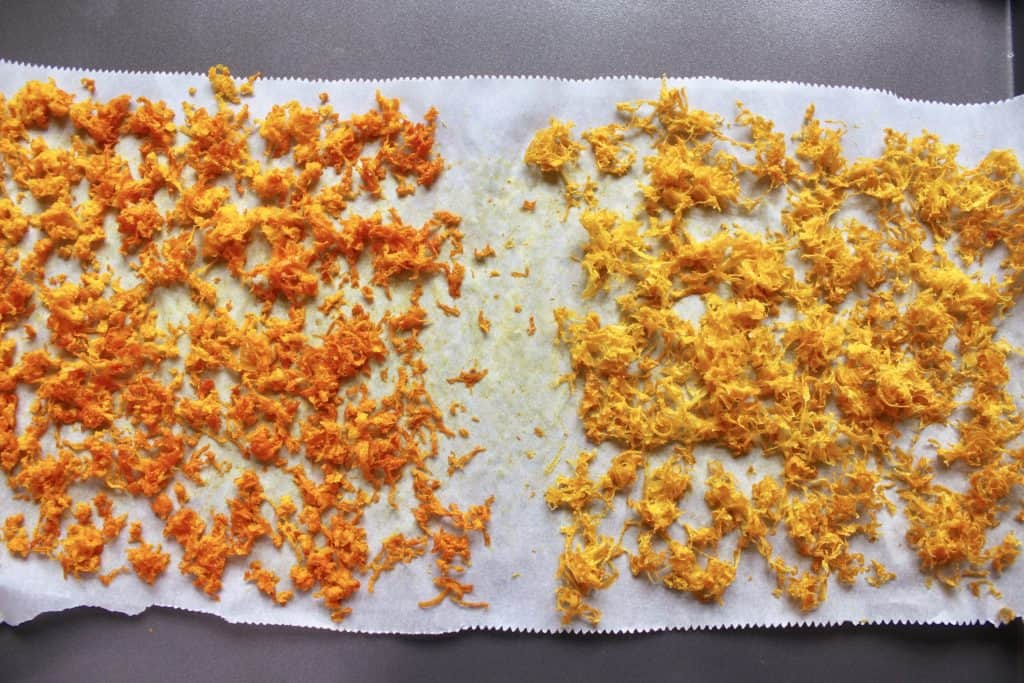 drying citrus zest
