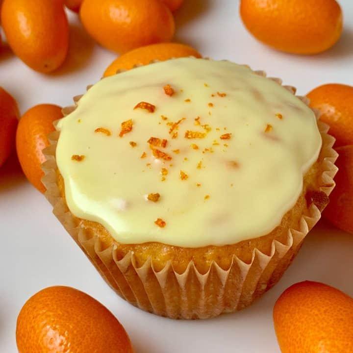 Decorated kumquat cupcake with kumquats
