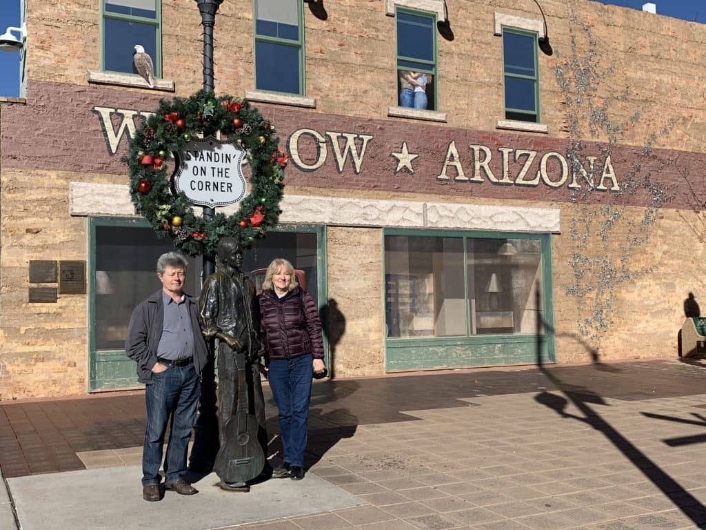 my parents standing on a corner in Winslow, Arizona