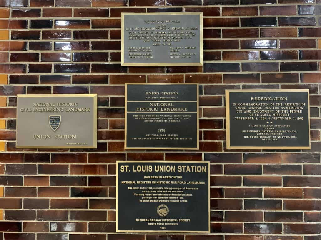 historic plaques at the Union Station Hotel