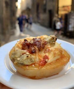 potato with chorizo and cheese in Barcelona